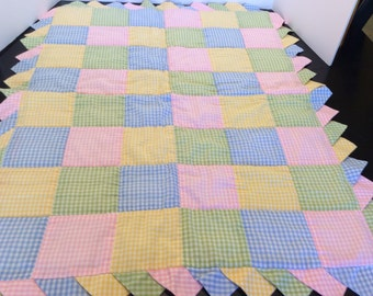 On Sale!  Vintage Baby Quilt, Gingham Pattern, Blue, Green, Yellow, and Pink