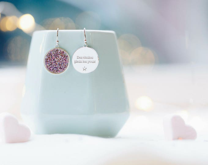 Pair of earrings COSMOS confetti / Valentine's day