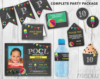 Pool Party Package Photo Invitation Birthday Printable Chalk Beach Ball Decoration Swimming Splash Collection DOWNLOAD Editable Personalize