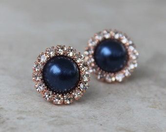 Navy Blue and Rose Gold Earrings, Rose Gold and Navy Blue Wedding Jewelry, Navy Blue Earrings, Bridesmaid Earrings, Navy Blue Pearl Earrings
