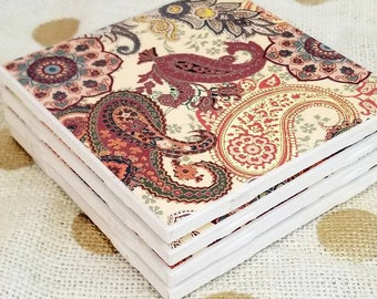 Handmade Tile Coasters set of 4 - Paisley patterned