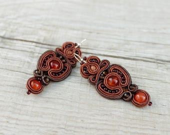 Beaded dangle earrings | mother gift, Anniversary gift for wife Mindfulness gift for her Boho earrings Soutache earrings Brown earrings bead