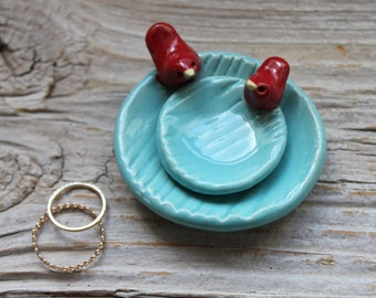 Tiny Pair of Pottery Faux Bois Aqua Dish with Tiny Birds - Made to Order - 1-2 Weeks for Delivery