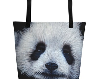 Panda Bear Beach Bag, fashion bag, beach bag, travel bag. Cute and cuddly Panda beach bag for Panda lovers animal lovers, Panda love