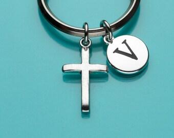 Cross Keychain, Cross Key Ring, Religious Symbol, Initial Keychain, Personalized Keychain, Custom Keychain, Charm Keychain, 416