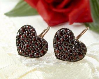 Bohemian garnet heart earrings/boutons // ГРАНАТ 829WFL