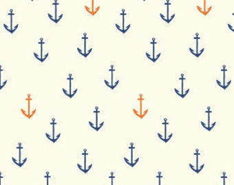 Sale!! Anchors Away - Organic Quilt Cotton - Saltwater by Emily Winfield Martin for Birch Fabrics