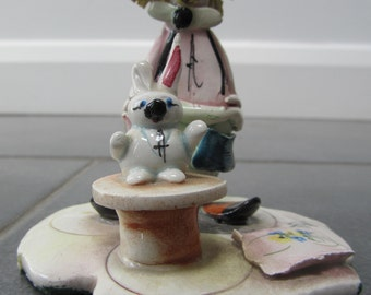 Handmade Hand-painted Vintage Clown figurine With Rabbit