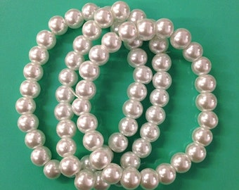 3PC vintage inspired white faux pearl bracelets for bridesmaid ,baby shower party favor , wedding, bridal party /8mm