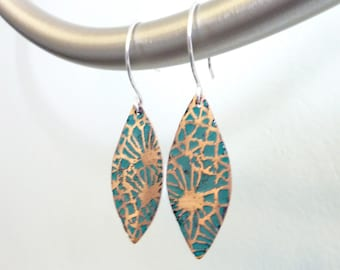 Copper Enamel Floral Earrings, Champlevé Glass, Flower Jewelry, Etched Metal, Turquoise Blue-Green Midori Leaf Earrings