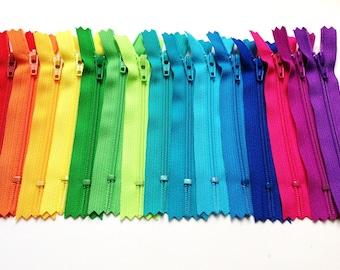 15 bright 4 inch YKK zippers - red, orange, yellow, green, lime, turquoise, aqua, royal blue, pink, fuchsia, purple