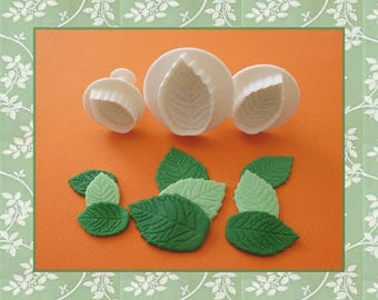 """Ejector cutter: """"Rose leaf"""" - set of 3 different sizes."""