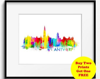 Antwerp Skyline Watercolor Art Print (310) Cityscape Belgium