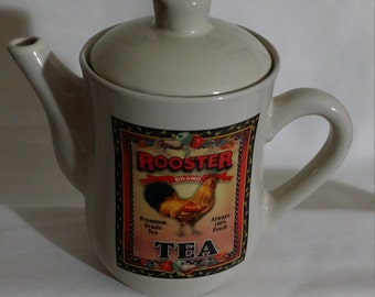 Rooster Brand Ceramic Teapot Bay Island Bone Color with Rooster Motif