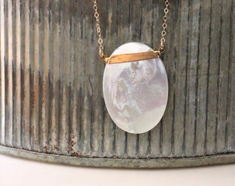 Mother of Pearl Shell Necklace - 14k Gold Filled or Sterling Silver - June Birthstone Jewelry