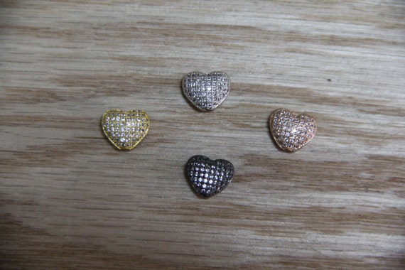 CZ Micro Pave 11mm Heart Beads