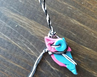 Small Neon Pink and Blue Clay Keychain With Black/White Waxed Thread