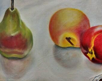 Still Life of Summer Fruit: Original Oil Painting