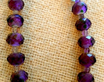 VOGUE: Two Varieties of Purple Czech Lampwork Beads with Sterling Clasp