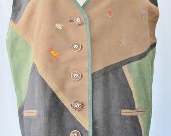 TRACHTEN VEST, Linen Cotton, Salzburg, Black, Green Brown, size 42, 12, Squirrel, Goat, Alpine Vest, Country Vest, Bavarian, Made in Austria