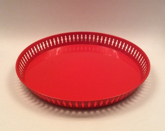 Vintage Red Tin Tray Metal Serving Tray Made in Sweden Red Retro Tray Scandinavian Modern Design Home Decor
