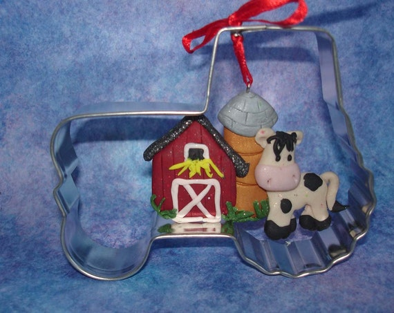 metal tractor wedding cake topper dairy cow ornament barn tractor cookie cutter 17269