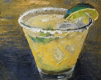 Margarita Giclee Print on Canvas, Drink Wall Art, Drink Canvas Print, Free Shipping, Choose Your Size, No Frame Required, Ready to Hang