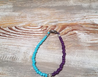 purple and teal bracelet with matte silver clasp