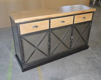 Industrial sideboard 3 steel top and drawers in natural oak doors