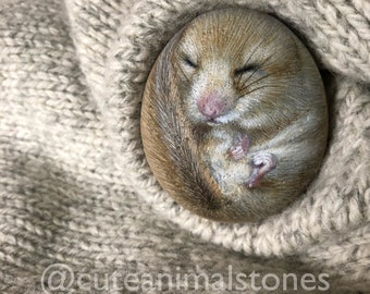 Realistic Stone painting, Dormouse Stone Painting, Cute Animals Stone, Dormouse Painting, Stone Painted  Dormouse, Home Decor, Gift Idea