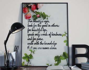 Audrey Hepburn Print, Audrey Hepburn Quote, Audrey Hepburn Art, Breakfast At Tiffany, Holly Golightly, Home Decor, Typography Print, Hepburn