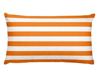 Horizontal Orange Stripes Rectangular Pillow