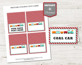 INSTANT DOWNLOAD Printable Editable Train Folding Tent Cards / Place Cards / You Type Text / Train Collection / Train Collection #3407
