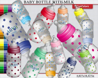 90 Baby Bottle WIth Milk Clip Art, Bottle Clipart, Baby Bottle Scrapbooking Clip Art, Baby Bottle Invitation, Instant Download, Commercial U