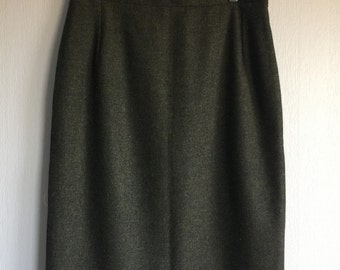 Tweed Pencil Skirt Wool Tweed Skirt Classic Tweed Skirt Green Womens Midi Skirt Handmade With Zip And Lining Office Skirt
