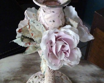 Candle Holder//Stick Candle Holder//Cottage decor//Shabby Chic decor//French Country decor