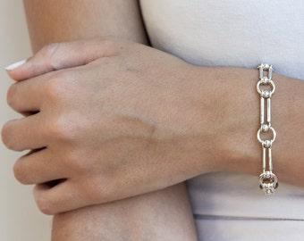 womens bracelet silver - 925 silver bracelet - chain link bracelet - 925 sterling silver bracelet - sterling bracelet women