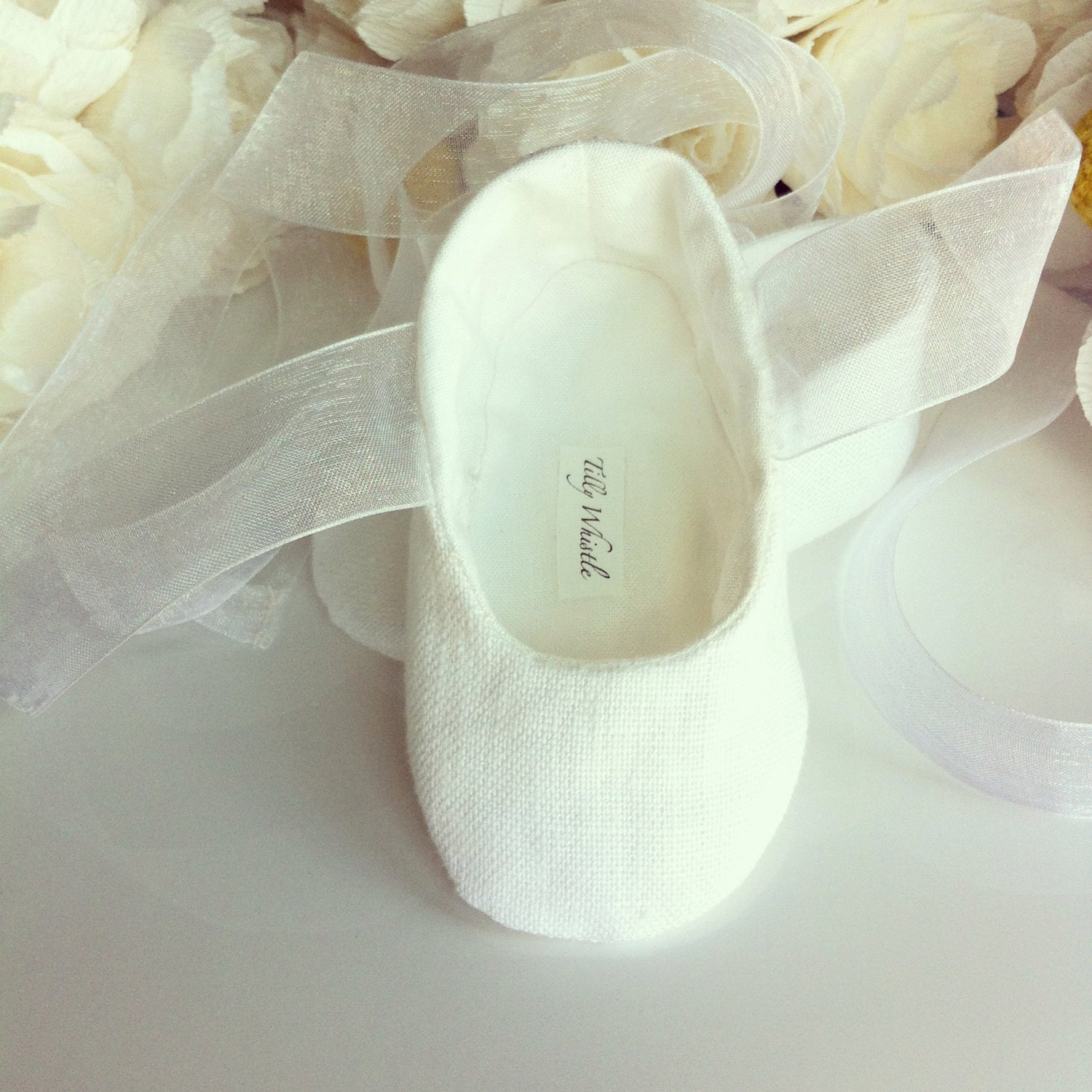 White or Ivory Linen Flower Girl Shoes Baby and Toddler Girl