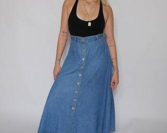Button-Front Denim Maxi Skirt