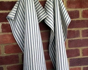 Set of 2 Grey & Cream Striped Tea Towels