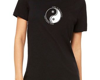 Women's ski/snowboard t-shirt/snowboarding t shirt/ Skier/Snowboarder/Inspirational Shirt/Life is Balance /Yin Yang Shirt/Life is Balance