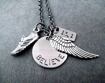 RUN BELIEVE Fly Your Distance Round Pendant Necklace - Runner Necklace on Gunmetal Chain - 5k, 10k, 13.1, 26.2 or XC - Distance Runner - Run