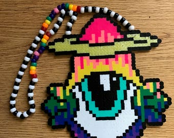 Trippy Alien Eye Perler Necklace