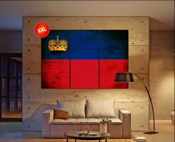 Liechtenstein flag canvas art print large  canvas print Liechtenstein flag country flag Wall Home office decor interior Office Decor