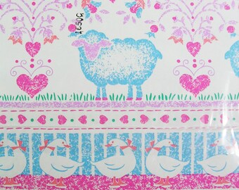 1 Sheet of Vintage 90's Country Decor Wrapping Paper, Sheep and Duck Gift Wrap, All Occasion Pink Blue and White Wrapping Paper