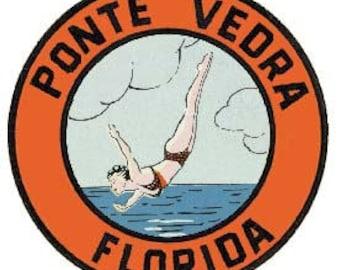 Vintage Style Ponte Vedra Beach FL Florida Amelia Island Fernandina    Travel Decal sticker