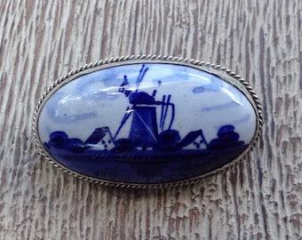 Vintage Delft Blue Brooch Windmill Dutch Pin 835 Silver Delftware Jewelry Delft Porcelain