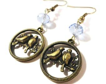 Bird Charm Earrings, Periwinkle Blue Crystal Bead Earrings, Beaded Dangle Earrings, Beadwork Earrings, Bronze Hoop Earrings, Women's Jewelry