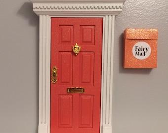 Magical coral glitter fairy door