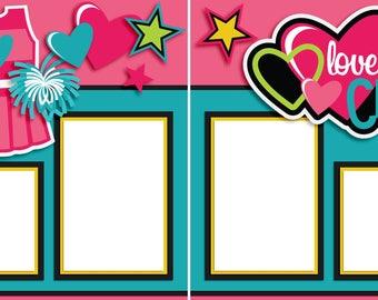 I Love Cheer - Digital Scrapbook Quick Pages-INSTANT DOWNLOAD
